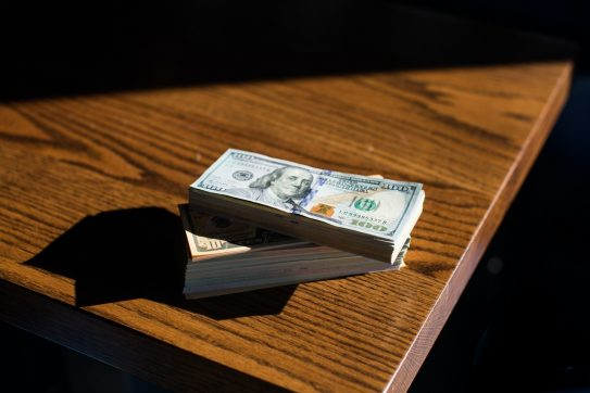 cash on a table