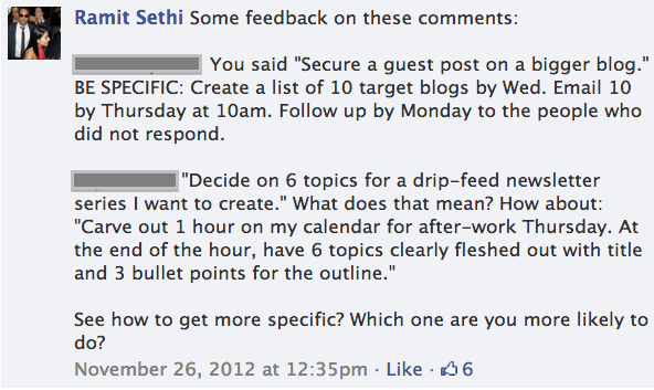 Ramit's feedback on the reader's goals