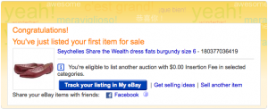 eBay listing success page screenshot