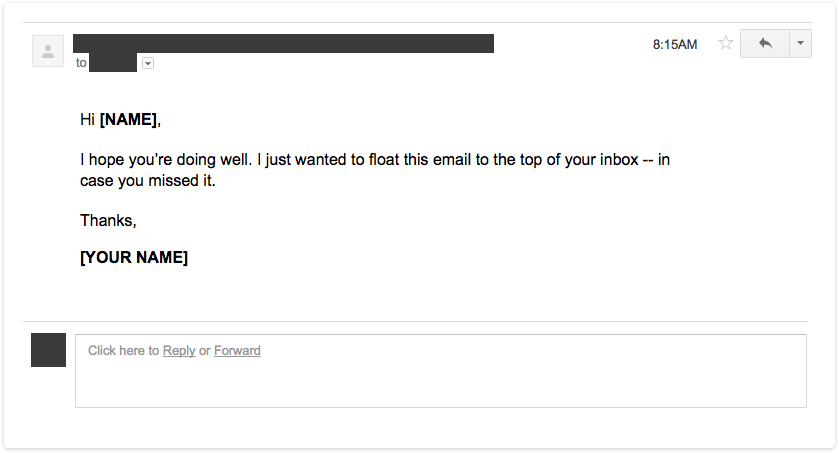 Example of a perfect bump follow up email